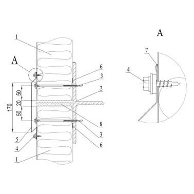 Соединение стеновых сэндвич–панелей при вертикальном монтаже